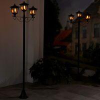 Luxform Farola de jardín LED solar con 3 faroles Brooklyn negro - Negro