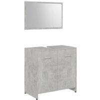 vidaXL Conjunto de muebles de baño 4 piezas aglomerado gris hormigón - Gris