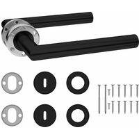 vidaXL Set de manilla puerta con pestillo BB acero inoxidable negro - Negro