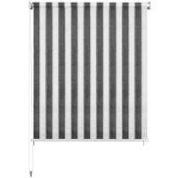 vidaXL Persiana enrollable 220x230 cm a rayas gris antracita y blanca - Antracita