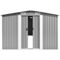 vidaXL Cobertizo de jardín acero galvanizado gris 257x779x181 cm - Gris