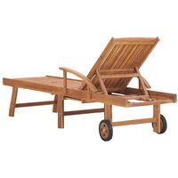 vidaXL Tumbona madera maciza de teca con cojín gris