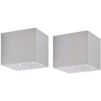 vidaXL Lámparas de pared cúbicas para exteriores 2 piezas - Plateado