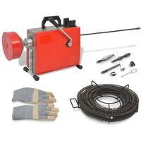 vidaXL Máquina para limpieza de tuberías 250 W 15mx16mm 4,5mx9,5mm
