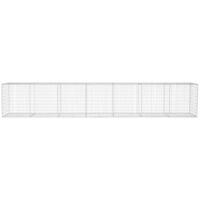 vidaXL Muro de gaviones con cubierta acero galvanizado 600x50x100 cm - Plateado