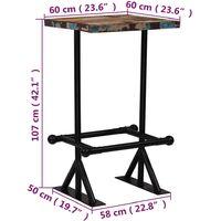 vidaXL Mesa de Bar de Madera Maciza Reciclada Multicolor 60x60x107 cm - Multicolor