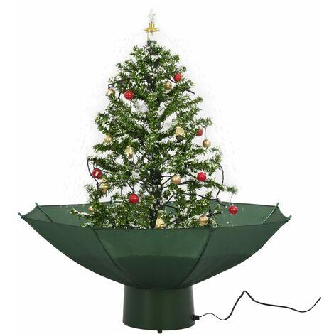 Albero Di Natale 75 Cm.Albero Di Natale Con Neve E Base A Ombrellone Verde 75 Cm