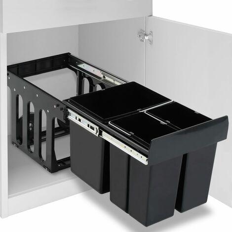 vidaXL Pattumiera Estraibile per Mobile Cucina Eco 48 L Soft-Close - Nero