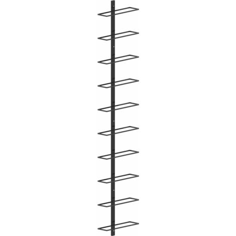 vidaXL Portavini da Parete per 10 Bottiglie Nero in Metallo - Nero