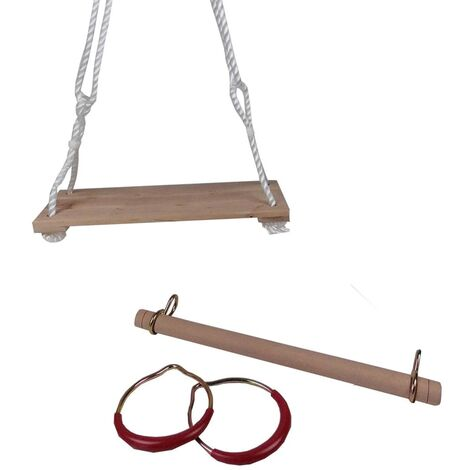 ValueHall Altalena con Anelli da Ginnastica con Anelli di Plastica y Corda Regolabile per Bambini Trapezio in Legno V7110B
