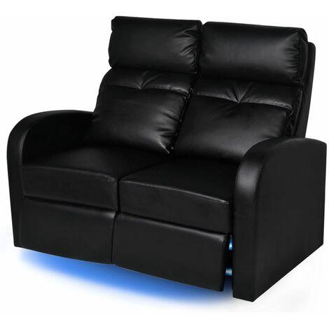 vidaXL Poltrona da Cinema Reclinabile a 2 posti con LED Pelle Artificiale Nera - Nero