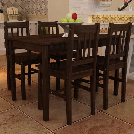 Vidaxl Set Tavolo Da Pranzo Con 4 Sedie In Legno Marrone Marrone