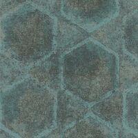 Topchic Carta da Parati con Motivo Esagono Blu e Argento - Multicolore