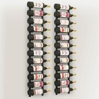 vidaXL Portavini da Parete per 12 Bottiglie 2 pz Nero in Ferro - Nero
