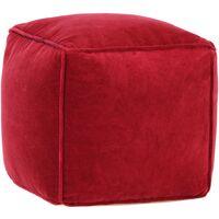 vidaXL Pouf in Velluto di Cotone 40x40x40 cm Rosso Rubino - Rosso