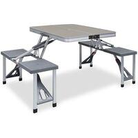 Festnight Set Tavolo da Campeggio con 4 Sedie Set Pieghevole di Tavolo da Picnic in Alluminio Leggero Grigio