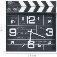 vidaXL Orologio da Parete Design Cinema Nero 33x5x34 cm Metallo e MDF - Nero