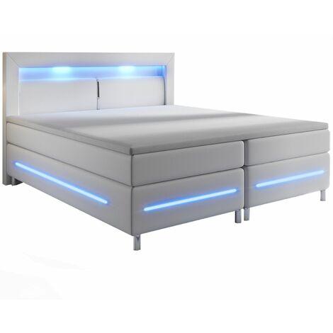 Juskys Boxspringbett Norfolk – LED Beleuchtung, Bonell-Matratzen, Topper & Kunstleder – 66 cm Komforthöhe – Bett Doppelbett 180 x 200 cm – weiß