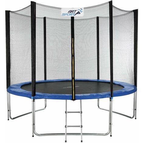 ArtSport Outdoor Trampolin Jampino Ø 305 cm GS-geprüft – Kindertrampolin bis 150 kg – Gartentrampolin mit Sicherheitsnetz, Leiter & Randabdeckung