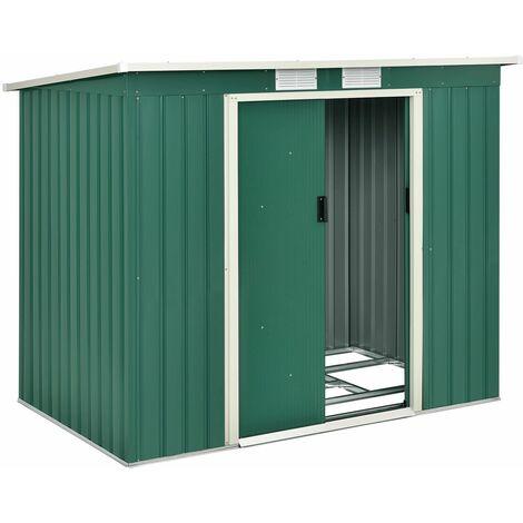 Juskys Metall Gerätehaus M grün | 4m³ | 213×130×173 cm | mit Pultdach, Schiebetür & Fundament | Geräteschuppen Gartenhaus Garten Schuppen