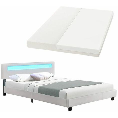Juskys LED Polsterbett Paris 160 × 200 cm mit Matratze und Lattenrost – Kunstleder & Holz Gestell – weiß – modern & stabil – Jugendbett Doppelbett
