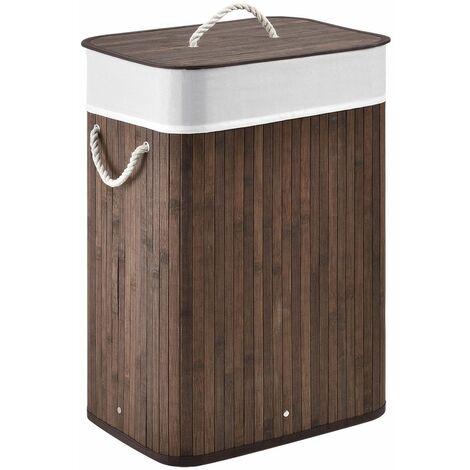 Juskys Bambus Wäschekorb Curly mit Deckel – Wäschesammler – Stoff Wäschesack herausnehmbar & waschbar – Wäschetonne mit Griffen – 72 Liter – braun