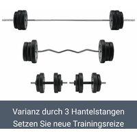Artsport 3in1 Hantelset mit 2 Kurzhanteln, 1 Langhantel & 1 SZ Curlhantel – 12 Gewichte mit 60kg und Sternverschlüssen – Hantel Set Krafttraining
