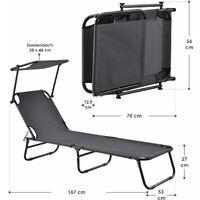 Juskys Gartenliege Korfu - Sonnenliege klappbar mit Sonnendach aus Metall und Kunststoff in Schwarz und Grau | Für Balkon, Garten, Terrasse, Outdoor