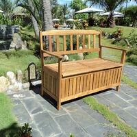 Banc de jardin en acacia avec coffre de rangement