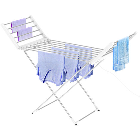 Tendedero Plegable Con Niveles Para Interior, Estante Eléctrico de Lavandería, Clásico, Blanco, Tamaño plegado: 113 x 53 x 7 cm