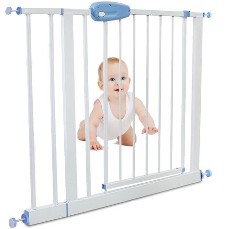 Barrera de Seguridad para Puerta Ajustable, Barrera de Seguridad para Bebés, extensión a 88-101 cm, Blanco, Ancho: 74-87 cm