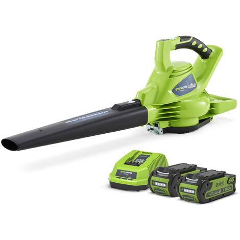 Greenworks GD040BVK2 Cordless 40v Garden Leaf Blower & Vacuum 185mph 2x Batts