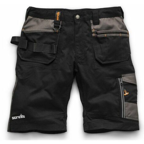 Scruffs Trade Work Shorts Black with Multiple Pockets - 40in Waist