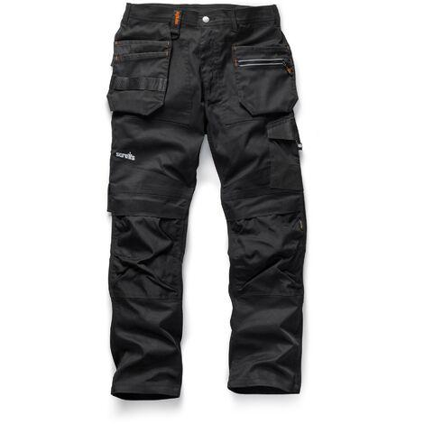"Scruffs Trade Flex Slim Fit Work Trousers Black - 30"" Waist x Long Leg"