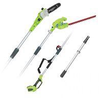 Greenworks G40PSH Cordless 40v Pole Saw & Long Reach Hedge Trimmer Bare Unit
