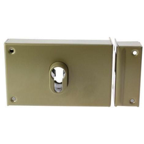 Serrure de porte coulissante en applique horizontale à fouillot à crochet à cylindre européen main gauche
