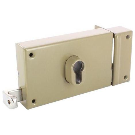 Serrure en applique horizontale à tirage - Pêne dormant et demi-tour - A cylindre européen - 7415 main droite