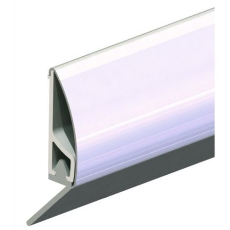 Profil de bas de porte en PVC, habillage inox avec lèvre en 1 ml