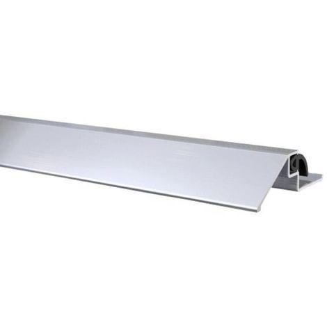 Seuil de porte aluminium ''à la Suisse'' en 50 X 15 mm avec joint d'étanchéité longueur 1000 mm anodisé argent