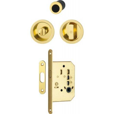 Serrure à condamnation rosace ronde pour porte coulissante intérieure avec manœuvres aluminium aspect laiton poli