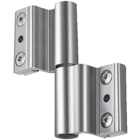 Paumelle à clamer pour porte légère ou porte-fenêtre type Venice Baby gorge européenne de 14 x 18 mm gris alu B20