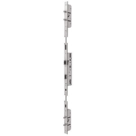 Serrure 3 points à pêne dormant et demi-tour, axe 25 mm, coffre largeur 40 mm
