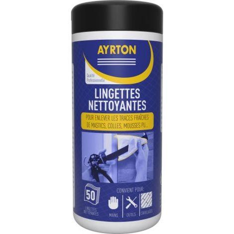 Lingettes nettoyantes pour traces de mastics, mousses polyuréthane, pot de 50 lingettes