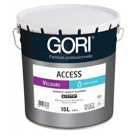 Peinture acrylique murs et plafonds GORIACCESS VELOURS, blanc bidon de 15 litres