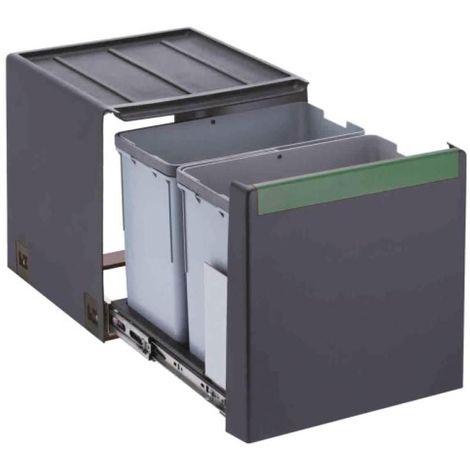 Poubelle cube 40 à fixer à l'intérieur du meuble 2 bacs de 14l