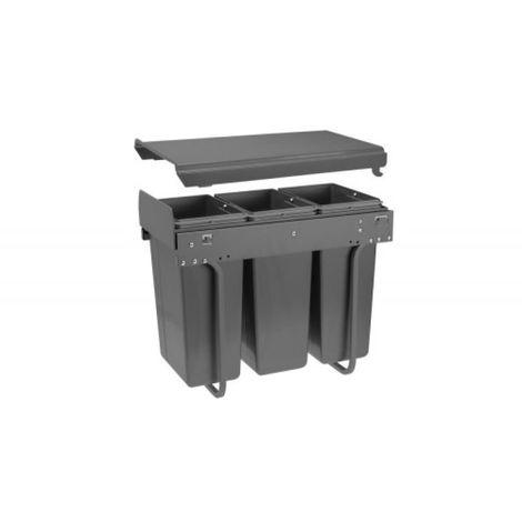 Poubelle Practi Eco pour caisson de 300 mm, bac de 3x10l avec coulisses Soft close, fixation sur le fond