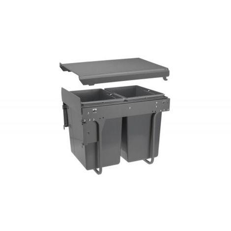 Poubelle Practi Eco pour caisson de 400 mm, bac de 2x20l avec coulisses Soft close, fixation frontale