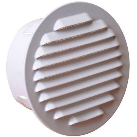 Grille de ventilation extérieure à encastrer Ø 100 mm - finition blanc