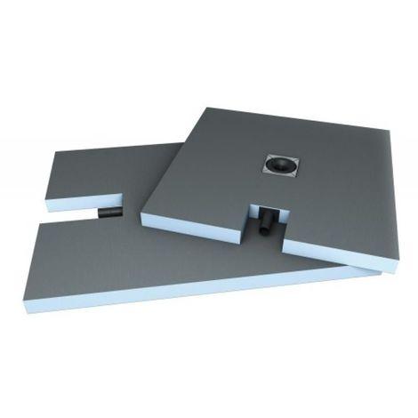 Receveur à carreler extra-plat Plano 1200 x 900 x 65 mm avec bonde horizontale intégrée sortie côté 900 mm