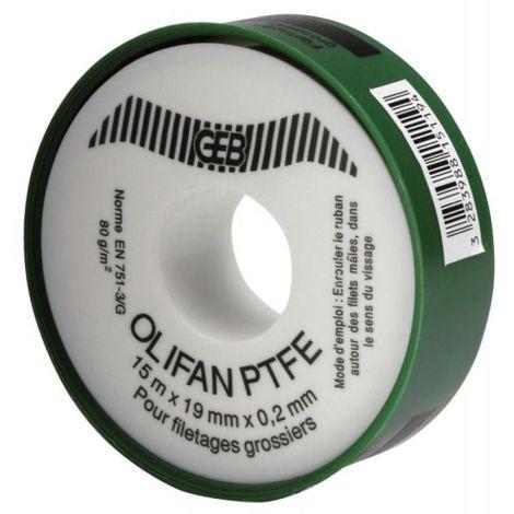 Ruban PTFE gros diamètre pour l'étanchéité des raccords filetés, largeur 19 mm x épaisseur 0,20 mm, le rouleau de 15 m